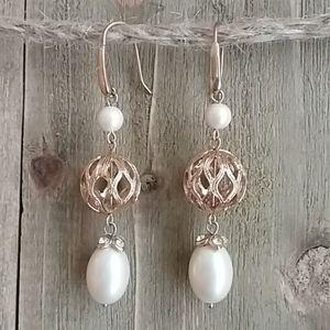Monet Pearl & Filigree Drop Earrings